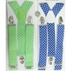 POLKADOT SUSPENDERS IN GREEN AND BLUE, 1.5 INCH WIDE