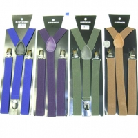 SUSPENDERS, PURPLE, OLIVE DRAB, BROWN AND BLUE COLORS