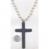 PEARL NECKLACE WITH LARGE BLACK CROSS