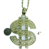 DOLLAR SIGN HUGE NECKLACE GOLD  OR SILVER