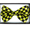 CHECKERBOARD YELLOW AND BLACK BOW TIE