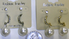 PEARL BALL IN WHITE & CREAM COLOR, GEM POST & MORE GEMS EARRINGS