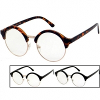 CLEAR LENS ROUND FRAMES, METAL BOTTOM, PLASTIC TOP NERDY LOOK