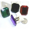 GEM CUT RING HOLD BY PRONGS, 4 COLORS