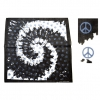 PEACE SIGNS IN A BLACK WHITE SPIRAL BANDANA