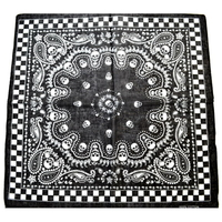 SKULLS, PAISLEY LEAFS AND CHECKERBOARD BORDER BANDANA