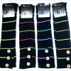 BLACK LEG WARMERS WITH THIN COLOR STRIPES