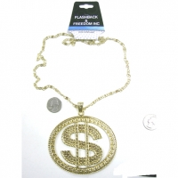 DOLLAR SIGN NECKLACE 4 X 3 INCHES BIG LEAD COMPLIANT