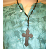 WOOD CROSS STYLE ROSARY STYLE NECKLACE