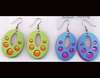 2 PIECE OVAL SHAPE COLORFUL RETRO HIPPY EARRINGS