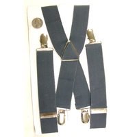 GRAY COLOR WIDE SUSPENDERS WITH METAL CLIP