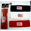 SWEATBAND IN RED, WHITE AND NAVY BLUE WITH AMERICAN FLAG