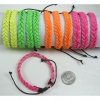 NEON TWISTED LEATHER LIKE BRACELET WITH BLACK CORD TIE