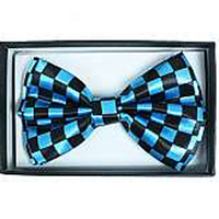 BLUE/BLACK CHECKERBOARD BOW TIE