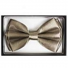CREAM/GRAY COLOR BOW TIE