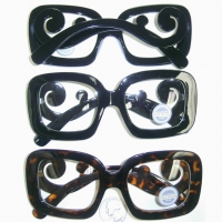CLEAR LENS RECTANGLE SHAPE, CURLY ARMS GLASSES
