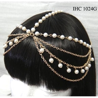 PEARL AND CHAIN HEAD CHAIN IN GOLD