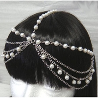 HEADCHAIN IN SILVER METAL AND PEARLS