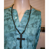 CROSS WOOD NECKLACE ALL BLACK