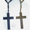 WOOD CROSS NECKLACE IN BLACK & BROWN