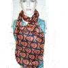 SKULL AND CROSSBONES SCARF, ORANGE ON BLACK