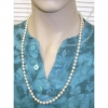 30 INCH GLASS BEAD PEARL NECKLACE WITH CLASP