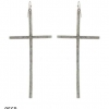 CROSS EARRINGS, 4.25 INCH LONG, METAL, 5 COLORS, EXCELLENT QUALI