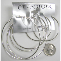 3 PAIRS OF SILVER COLOR HOOPS IN DIFFERENT SIZES