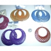 CLASSIC HUGE EARRING IN ASSORTED COLORS, SILVER BASE