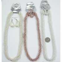 TWISTED 4 STRANDS PEARL NECKLACE & EARRING SET