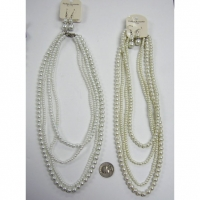 4 STRANDS PEARL NECKLACE IN DIFFERENT SIZES & EARRING SET