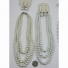 3 STRAND PEARL NECKLACE CHOKER & EARRING SET
