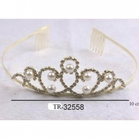 GOLD COLOR TIARA WITH GEMS AND PEARLS