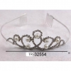 SILVER COLOR TIARA WITH GEMS AND PEARLS