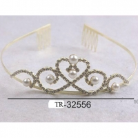 GOLD COLOR TIARA WITH PEARLS AND GEMS