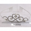 SILVER COLOR TIARA WITH RHINESTONES AND PEARLS