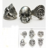 SKULL RINGS, BRIGHT SILVER COLOR , ASSORTED MENS SIZES