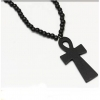 ANKH NECKLACE ALL BLACK WOOD  ROUND BEADS  LONG NECKLACE