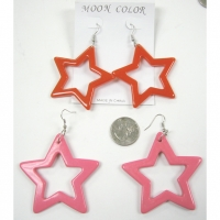 STAR SHAPE PLASTIC EARRING IN RED AND PINK ONLY