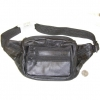 BLACK LEATHER FANNY BAG WITH 6 ZIPPERS
