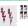 LIGHTING BOLT METAL EARRINGS W/ CHEVRONS  IN COLORS