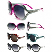 ZIPPER LOOKING LARGE LADIES RETRO SUNGLASSES