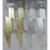 LIGHTING BOLT EARRINGS IN GOLD AND SILVER, 5 INCHES LONG, METAL
