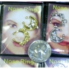 NOSE RINGS IN GOLD AND SILVER WITH DESIGN AND CLEAR GEMS ONE