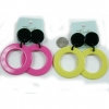 YELLOW ONLY MOD SHAPE ROUND EARRINGS WITH LARGE BLACK DOT POST