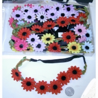MULTI FLOWER HEADBAND WITH SUEDE AND LEAF TWINE LOOK