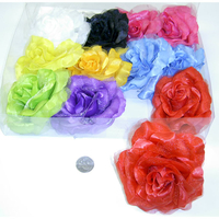 FLOWER  HAIR CLIP, 4.5 INCH DIAMETER, ASSORTED COLORS