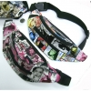MAGAZINE PRINT FANNY BAG, 3 ZIPPERS