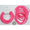 NEON PINK RUBBER BRACELETS, 24 PIECES/PACK