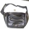 BLACK FAKE LEATHER LOOK 4 ZIPPER FANNY PACK